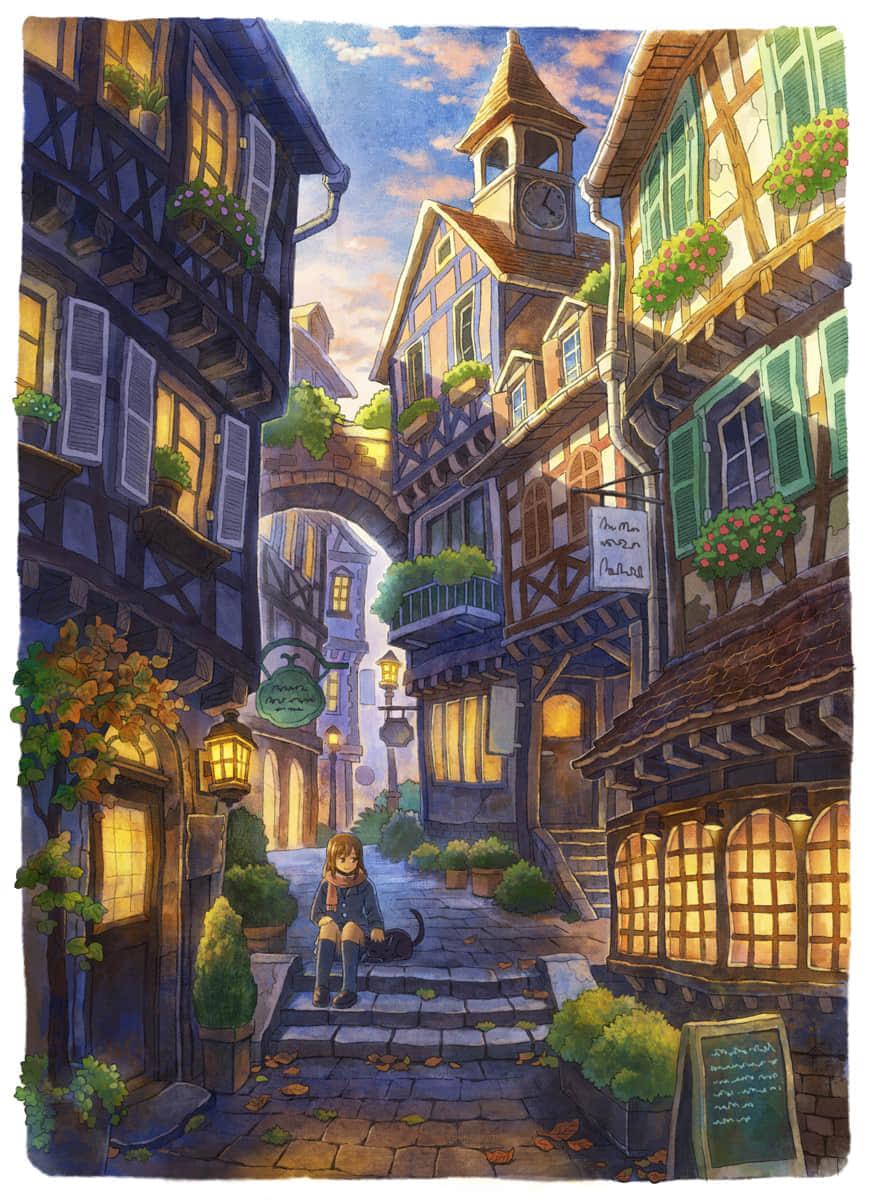 城堡黄昏胡同猫女孩竖屏壁纸