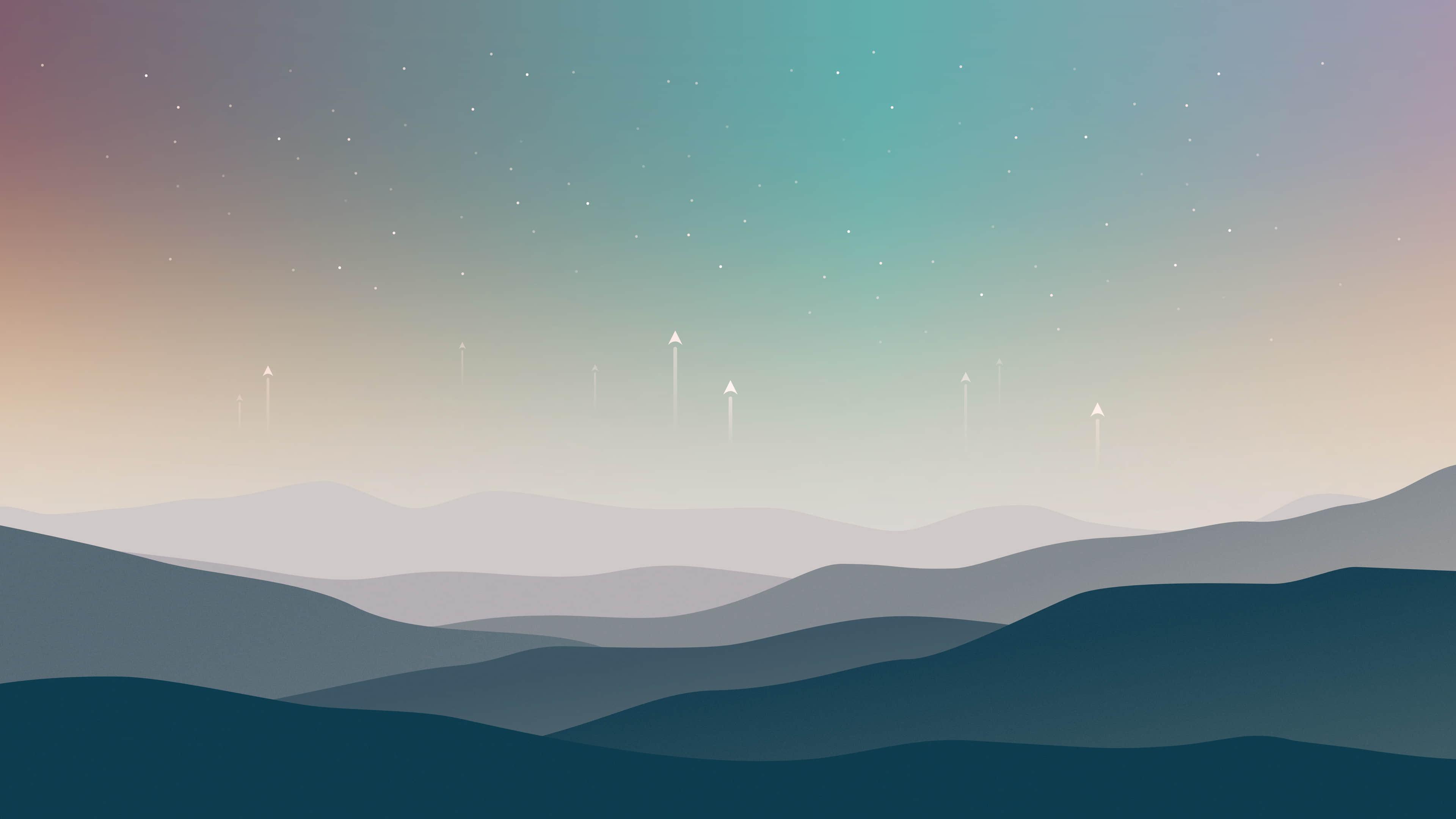 高山星空唯美背景4k简约壁纸